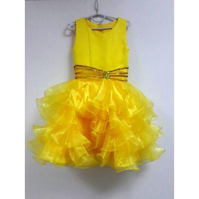 Нарядное платье для девочки Рюша желтая