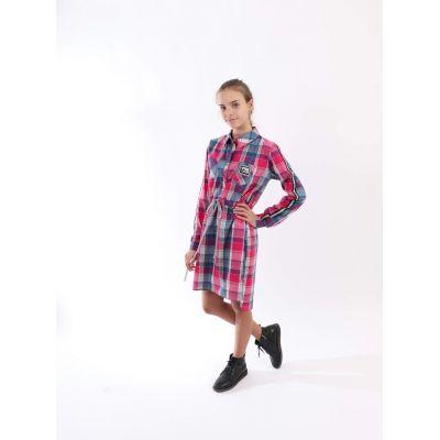 Платье - туника для девочки клетка розова JakPani