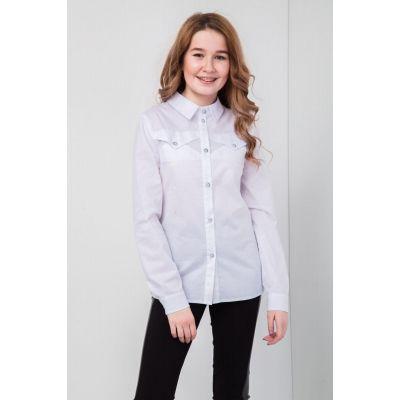 Блуза школьная для девочки Жасмин СЧ-27913 белая ТМ Suzie