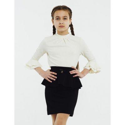 Блуза трикотажная для девочки 114642/114643 молочная,  рукав 3/4