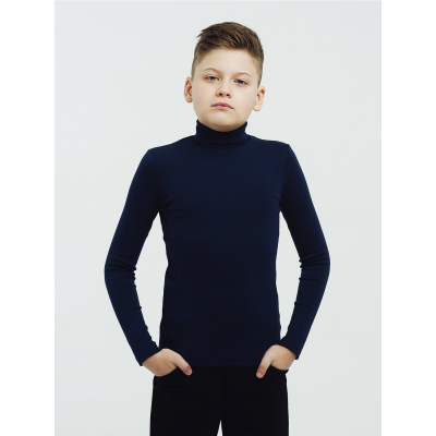 Гольф для мальчика тёмно-синий стойка 114589  утеплённый