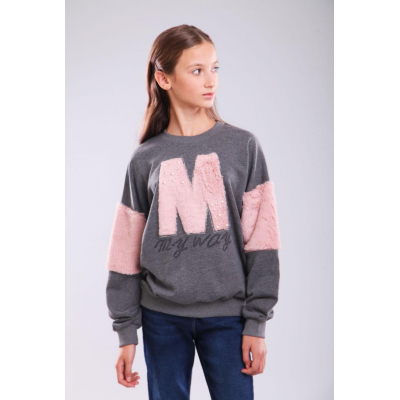 Свитшот для девочки 1879.05 серый ТМ Marions