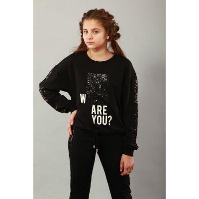 Свитшот для девочки 7098 черный ТМ Marions