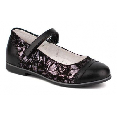 Туфли кожанные для девочки 43177 черно-серые ТМ Шаговита
