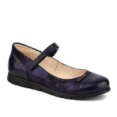 Туфли кожанные для девочки 63220 т.синие ТМ Шаговита