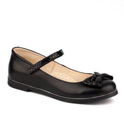 Туфли кожаные для девочки 63226 черные ТМ Шаговита