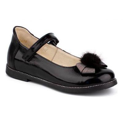 Туфли кожанные для девочки 43176 черные ТМ Шаговита