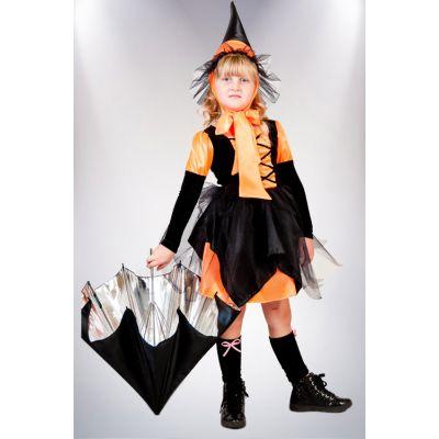 Карнавальный костюм для девочки Ведьмочка №5 оранжевая ТМ Сашка