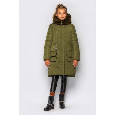 Пальто для девочки Мелания Хаки ТМ Cvetkov