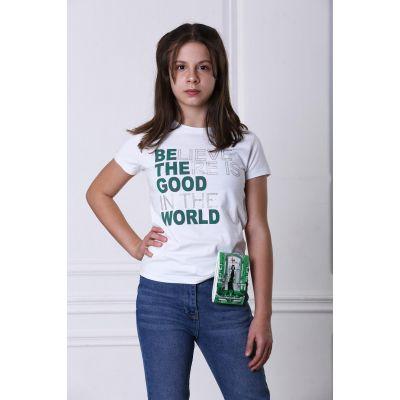 Футболка для девочки 4116, 01 белый ТМ Marions