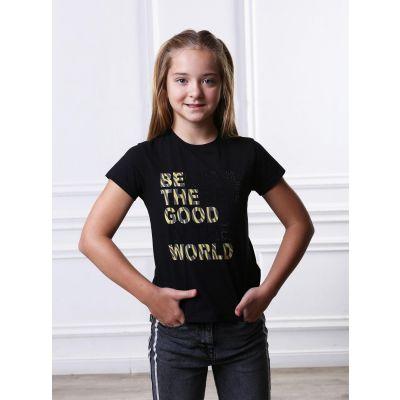 Футболка для девочки 4116 черный ТМ Marions