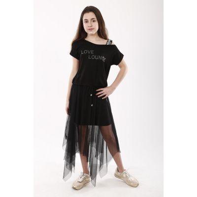 Комплект для девочки юбка + футболка 2100, 03 черный ТМ Marions