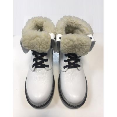 Ботинки кожанные для девочки 43 белый