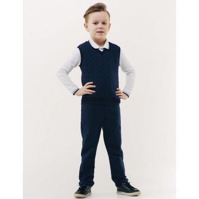 Брюки школьные для мальчика синие трикотаж 115377 ТМ Smil