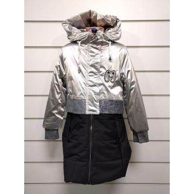 Куртка пальто демисезонное для девочки черное металлик 1950