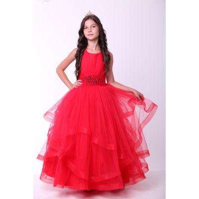 Нарядное платье для девочки 8703 красное