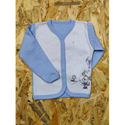 Кофточка с начесом для мальчика 91-01 голубая