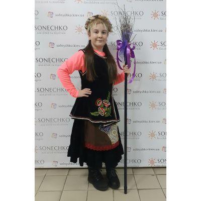 Карнавальный костюм для девочки Баба Яга с метлой
