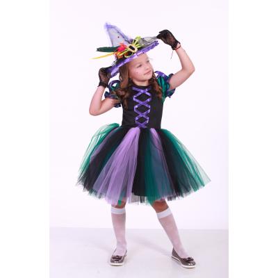 Карнавальный костюм для девочки Ведьмочка - Ведьма с пером