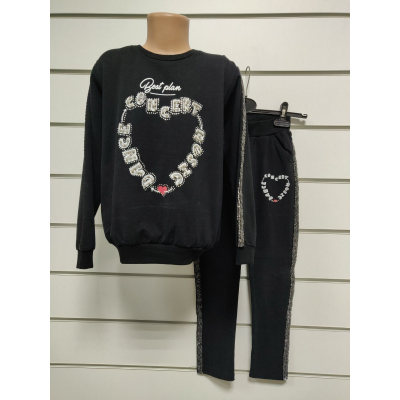 Комплект для девочки свитшот+брюки 12973 черный BREEZE GIRL,Турция