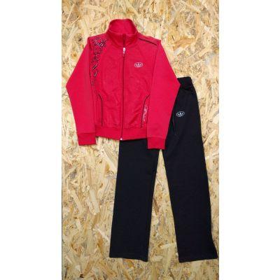 Спортивный костюм для девочки 0175 коралл+черный