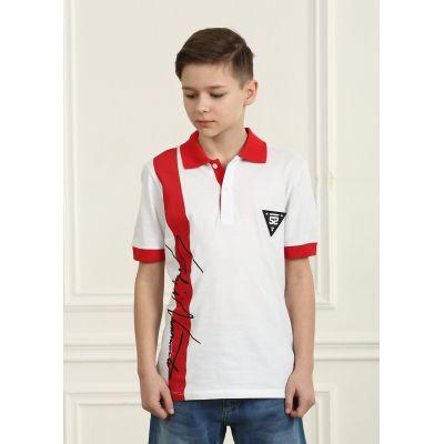 Поло для мальчика 2947.13 бело-красный ТМ Marions