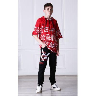 Штаны для мальчика 2918.13 черно-красные ТМ Marions