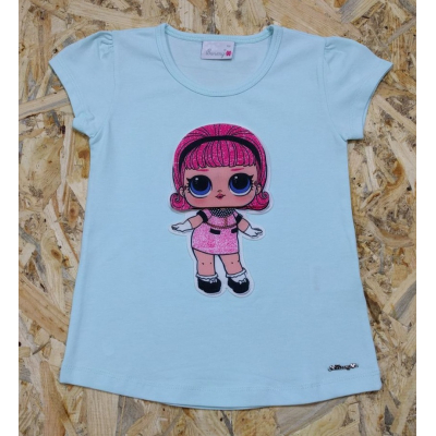 "Футболка для девочки ""Кукла Лол"" 0085 мята, BREEZE GIRL Турция"