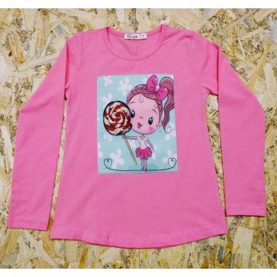 Реглан для девочки 0185 розовый коралл BREEZE GIRL, Турция