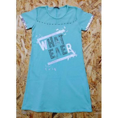 Платье туника летнее для девочки 7107 мята