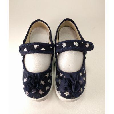 Туфли текстильные Алина Бант  синие с серебром