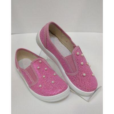 Туфли текстильные Вика розовая парча