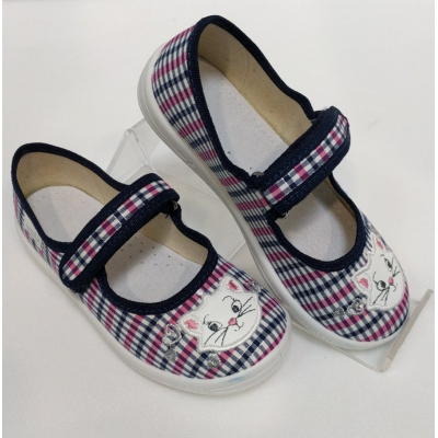 Туфли текстильные Алина клеточка