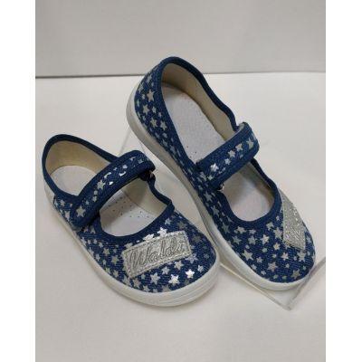 Туфли текстильные Алина джинс с серебрянными звёздами