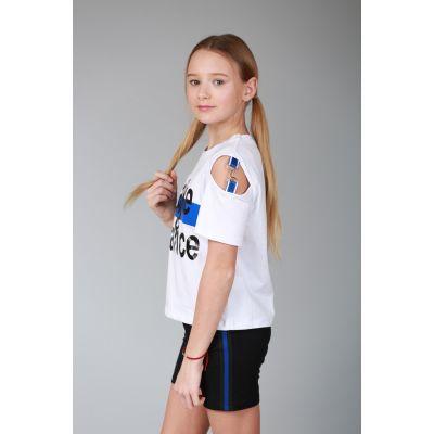 Шорты трикотажные для девочки 6345.03/02 черные с синей полоской.