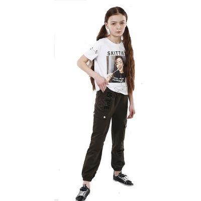 Спортивные  брюки для девочки - Джоггеры хаки 9130.08 хаки