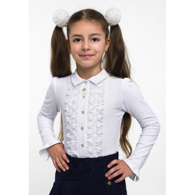 Блуза трикотажная для девочки 114519 белая
