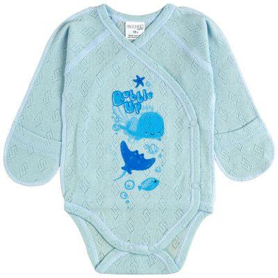 Боди-распашонка 19299-88 голубой ажур
