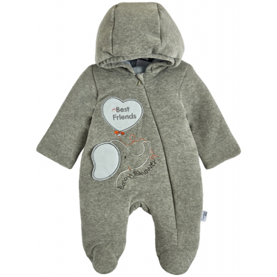Комбинезон демисезонный для малыша 12091-01 велюр серый