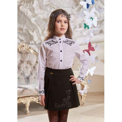 Юбка школьная Розмари черная с вышивкой