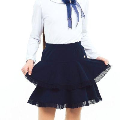 Юбка школьная 120231 синяя трикотажная