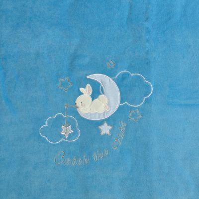 Плед одеяло утеплённый 109099-01-32 велюр ярко-голубой