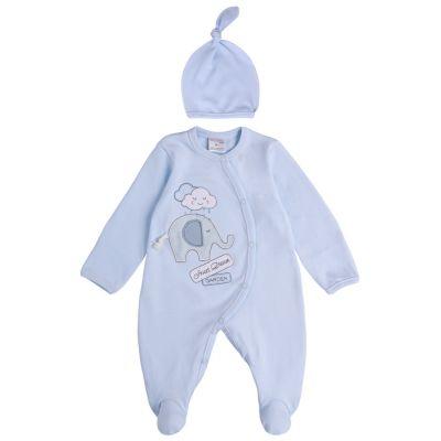 Набор человечек и шапочка для малыша 29224-02 интерлок голубой