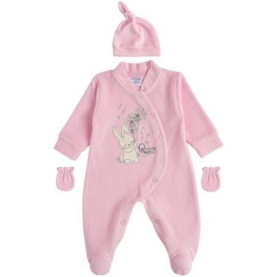 Комплект человечек и шапочка 29229-01 велюр розовый