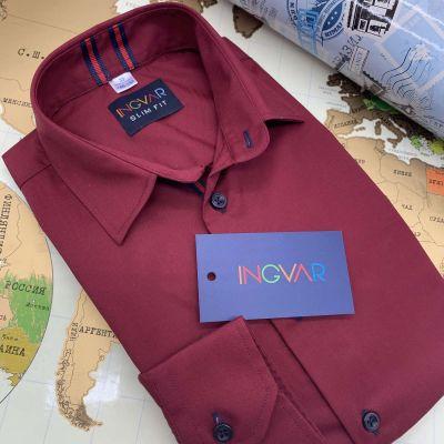 Рубашка школьная для мальчика 12-51-23 бордо
