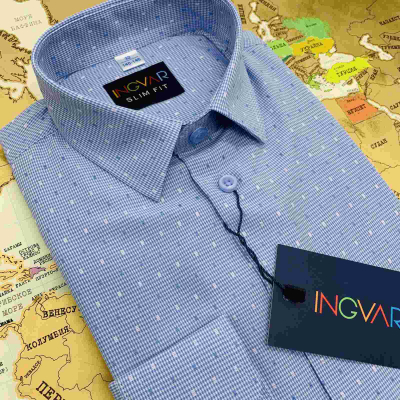 Рубашка школьная для мальчика 12-51-35 голубая