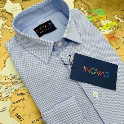 Рубашка школьная для мальчика 12-51-38 клеточка голубая