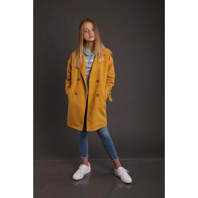 Пальто для девочки горчица 307