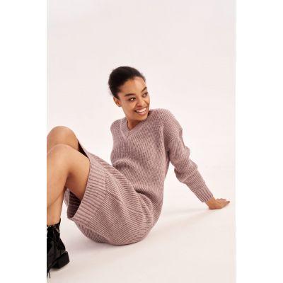 Вязаное платье Мелания 4554 серо-лиловое