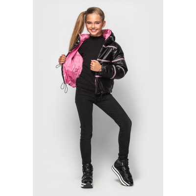 Куртка Кэрри черно розовая